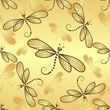 Seamless pattern with gold gradient dragonflies