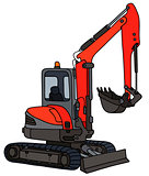 Red small excavator