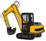 Yellow small excavator