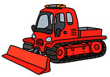 Red tracked snowplow