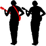 Silhouette musician plays the guitar. Vector illustration