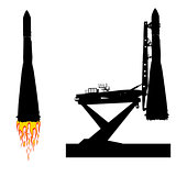 Silhouette space ship before the launch into orbit. Vector illustration