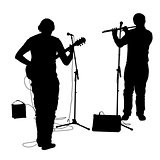 Silhouettes musicians plays the guitar and flute. Vector illustration