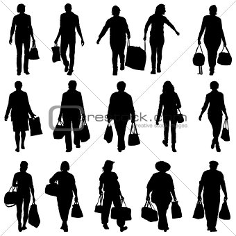 Black silhouettes mans and womans with bags and packages on whit