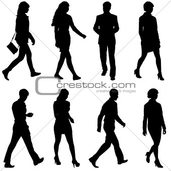 Black silhouettes of beautiful mans and womans on white