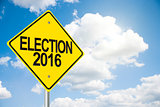 Road sign Election 2016 on sky