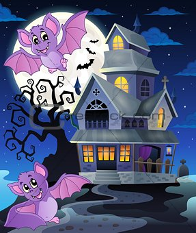 Bats near haunted house theme 1