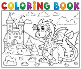 Coloring book dragon near castle theme 2