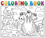 Coloring book dragon near castle theme 3