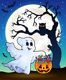 Halloween ghost with tree silhouette