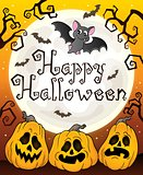 Happy Halloween sign with pumpkins 3