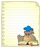 Notebook page with owl teacher 6