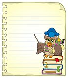 Notebook page with owl teacher 7