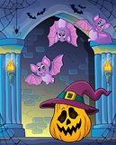 Pumpkin in witch hat theme image 2