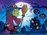 Witch with cat and broom theme image 8