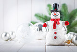 Christmas snowman with glass balls decoration