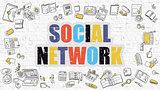 Social Network Concept with Doodle Design Icons.