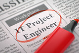 We are Hiring IT Project Engineer. 3D Illustration.