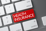 Health Insurance CloseUp of Keyboard. 3D Illustration.