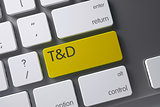 TD Yellow Keypad. 3D Illustration.