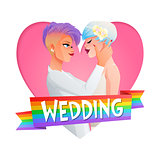 Wedding lesbian couple. Vector image with text.