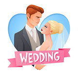 Wedding couple in love. Vector image with text.