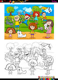 kids and cats coloring book