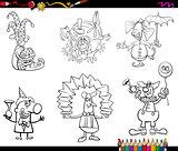 clowns set coloring book