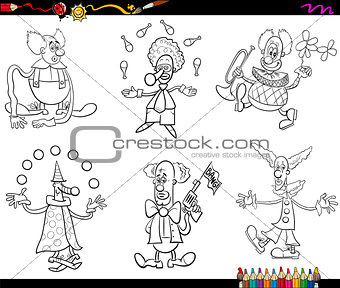 circus clowns set coloring book