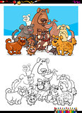 dog character group for coloring