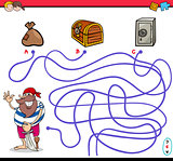 path maze activity with pirate