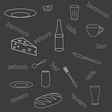 Seamless pattern of kitchen utensils
