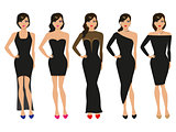 Vector illustration of a set of evening dresses