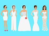 Vector illustration of a set of wedding dresses