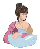 Mother breastfeeding infant baby child lulling him asleep on the nursing pillow like in cradle.