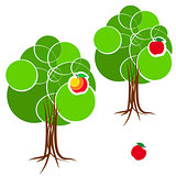 Cartoon green summer tree with a crown of circles  different diameters. Abstract trunk and roots. Red apple.