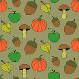 Cute Cartoon Autumn Seamless Pattern