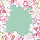 Vector frame with tropical pink flowers