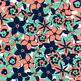 Vector tropical color flowers seamless background