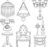 Vector illustration of vintage rotro decor items