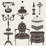 Vector illustration of vintage retro decor items