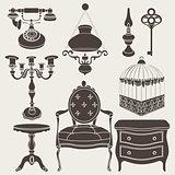 Vector illustration of vintage retro decor items