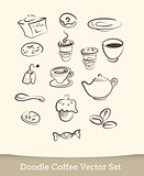 coffee doodle set isolated on white background. vector illustration