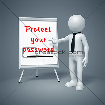 business man presenting Protect your password