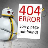 sweet little robot with a board error 404