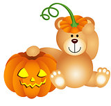 Teddy bear with halloween pumpkin