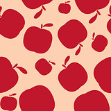 Seamless pink pattern background with apples