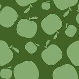 Seamless green pattern background with apples