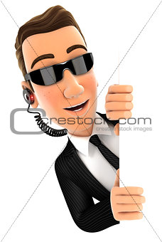 3d security agent peeping over blank wall