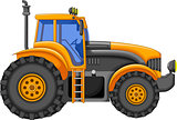 yellow tractor cartoon for you design